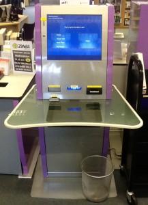 A self-service machine in a public library foyer