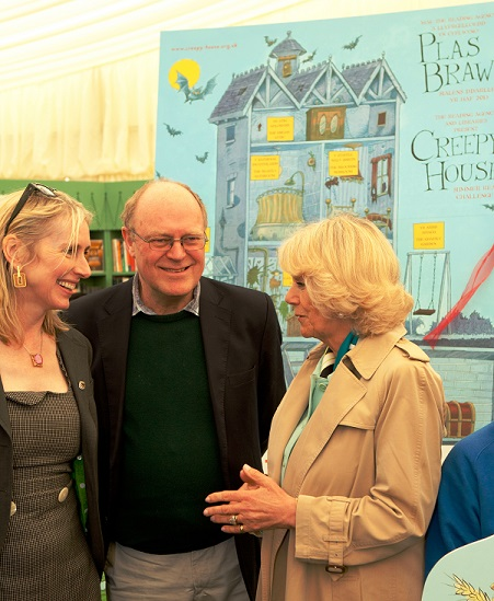 The Duchess of Cornwall with Korky Paul and Lauren Child