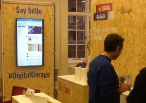 "Google Garage at Manchester Central Library. Note the chipboard aesthetic to encourage a ""start-up"" feel"