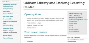 A mediocre library webpage from circa 2005 somehow still surviving today. Get it sorted Oldham.
