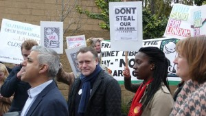 Sadiq Khan, standing to be London Mayor, gets ambushed by Lambeth library defenders when he visited Camberwell Library in Southwark. Campaigners are angry that Labour's Lambeth is cutting libraries at the same time as his manifesto supports libraries.