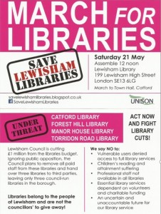 "Lewisham - Unison poster organising march to ""save Lewisham Libraries"""